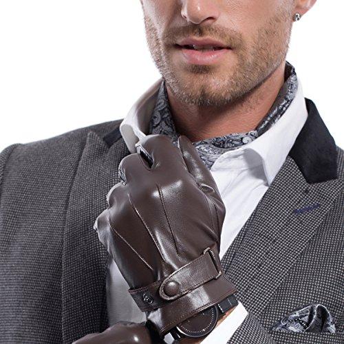 MATSU M2011 Herren Winter-Lammfell-Handschuhe, Super Warm, Leder Gr. L, Brown-TouchScreen