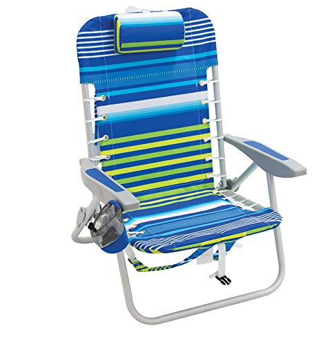 Rio Beach Lace-Up Suspension Folding Beach Chair, Cool Blue