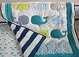 Baby Neutral Ocean Whale Crib Bedding Quilt