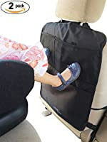 Set of 2 Kick Mats with Car Backseat Organizer + Unique Large Storage Pocket for iPad Tablets - XL Premium Quality Seat Back Protectors - Universal Fit Covers by MyTravelAide
