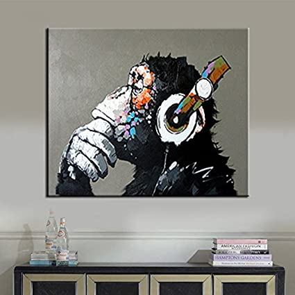 BPAGO Animal Painting Abstract Modern Wall Art For Living Room Chimp 100%  Oil Paintings On