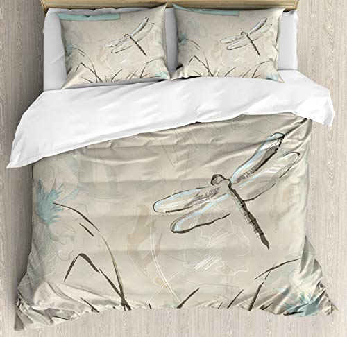 (Ambesonne Dragonfly Duvet Cover Set Queen Size, Romantic Vintage Sketch in Pastel Grass Birthday Grunge Grass Botany Artwork, Decorative 3 Piece Bedding Set with 2 Pillow Shams, Seafoam)