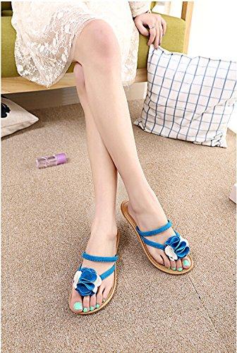 Xiuhong Shop Flores Confort Dulce sandalias planas ocasionales de las mujer sandalias y zapatillas Azul