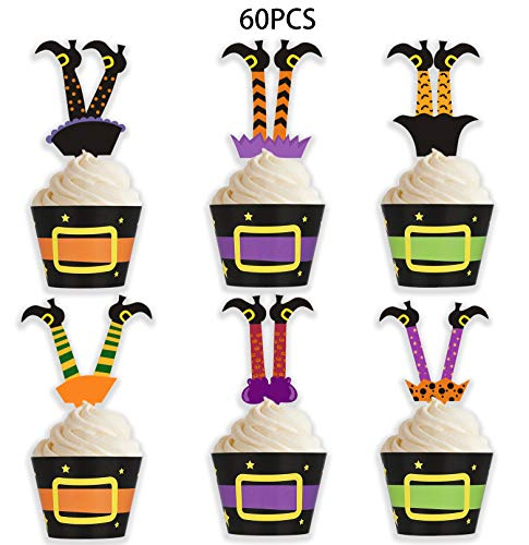 Halloween Cakes Cupcakes (Halloween Cupcake Toppers Wrappers - Witch Boot Cake Party Supplies)