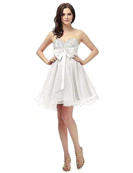 08820352f5d6 LuckyShe Donna Sexy Cocktail Abito Elegante per Matrimonio Breve Vestito da  Festa Avorio 38