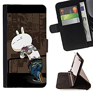 Cute Gangster Bunny - Painting Art Smile Face Style Design PU Leather Flip Stand Case Cover FOR LG Nexus 5 D820 D821 @ The Smurfs