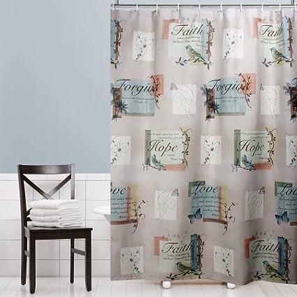 Mainstays Hopeful Fabric Shower Curtain