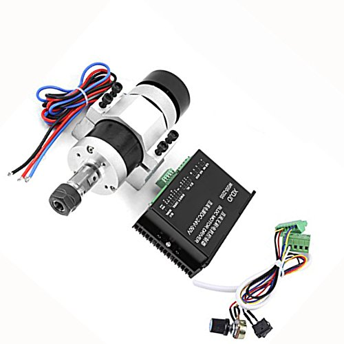 - Spindle Motor Kit,500W High Speed Air Cooling Brushless Spindle Motor ER16 12000RPM+Motor Driver+ Motor Controller,DC 48V,Engraving Machine Parts