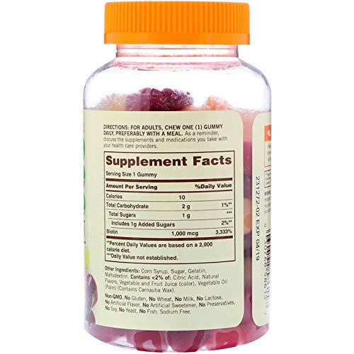 Sundown Naturals Biotin 1000 mcg Gummies Grape, Orange and Cherry Flavored - 130 ct, Pack of 3