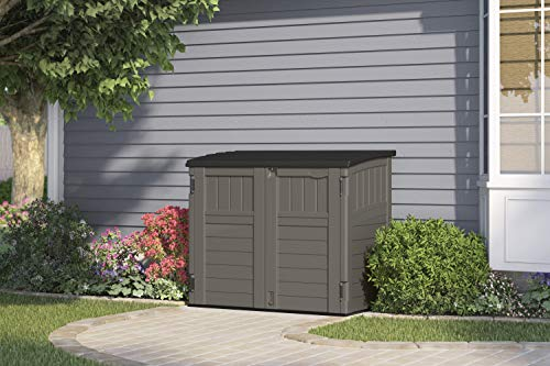 Garden and Outdoor Suncast 4′ x 2′ Horizontal Storage Shed – Natural Wood-Like Outdoor Storage for Trash Cans and Yard Tools – All-Weather… outdoor storage sheds