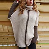 Rurah Women Fashion Patchwork Long Sleeve Round Neck Knits Sweater Pullover,S