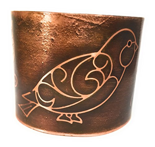 Statement Etched Whimsical Bird Copper Cuff Bracelet
