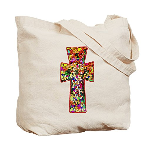 CafePress–Pretty de vidriera con aspecto Cruz Tote Bag–Natural gamuza de bolsa de lona bolsa, bolsa de la compra
