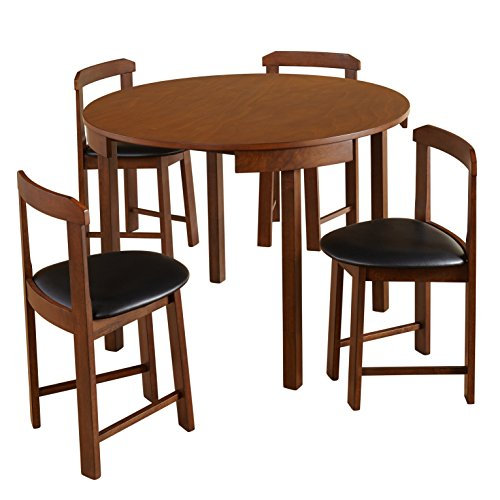 Target Marketing Systems 35515WAL Zuma Collection Compact Set 5-Piece Round Nesting Dining Table & Chairs, Walnut (5 Piece Dining Collection)