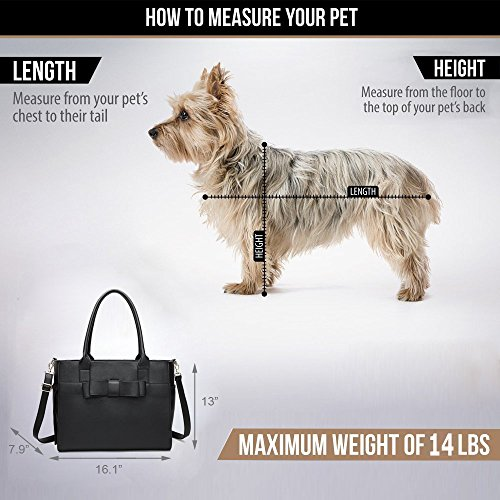 WOpet Fashion Pet Carrier Bag Dog Carrier Purse Dog Handbag Pet Tote Bag for Outdoor Travel Walking Hiking (Black)