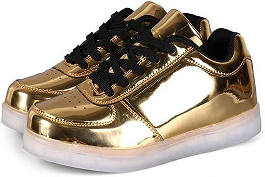 xiezi Unisex Zapatos con LED,Deportivas LED Malla Zapatillas con Luces Planas Running Comodas Transpirable de Zapatos(Oro,Plata) Gold-43: Amazon.es: Hogar