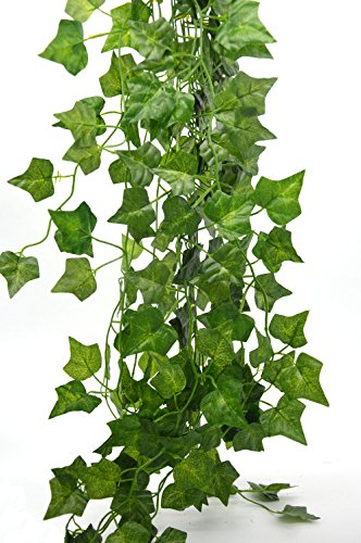 Bird Fiy Artificial Plants 78 Ft English Ivy Silk Greenery Artificial Plants Wedding Party Halloween Decorations DIY Floor Garden Office - 12PCS Artificial ()