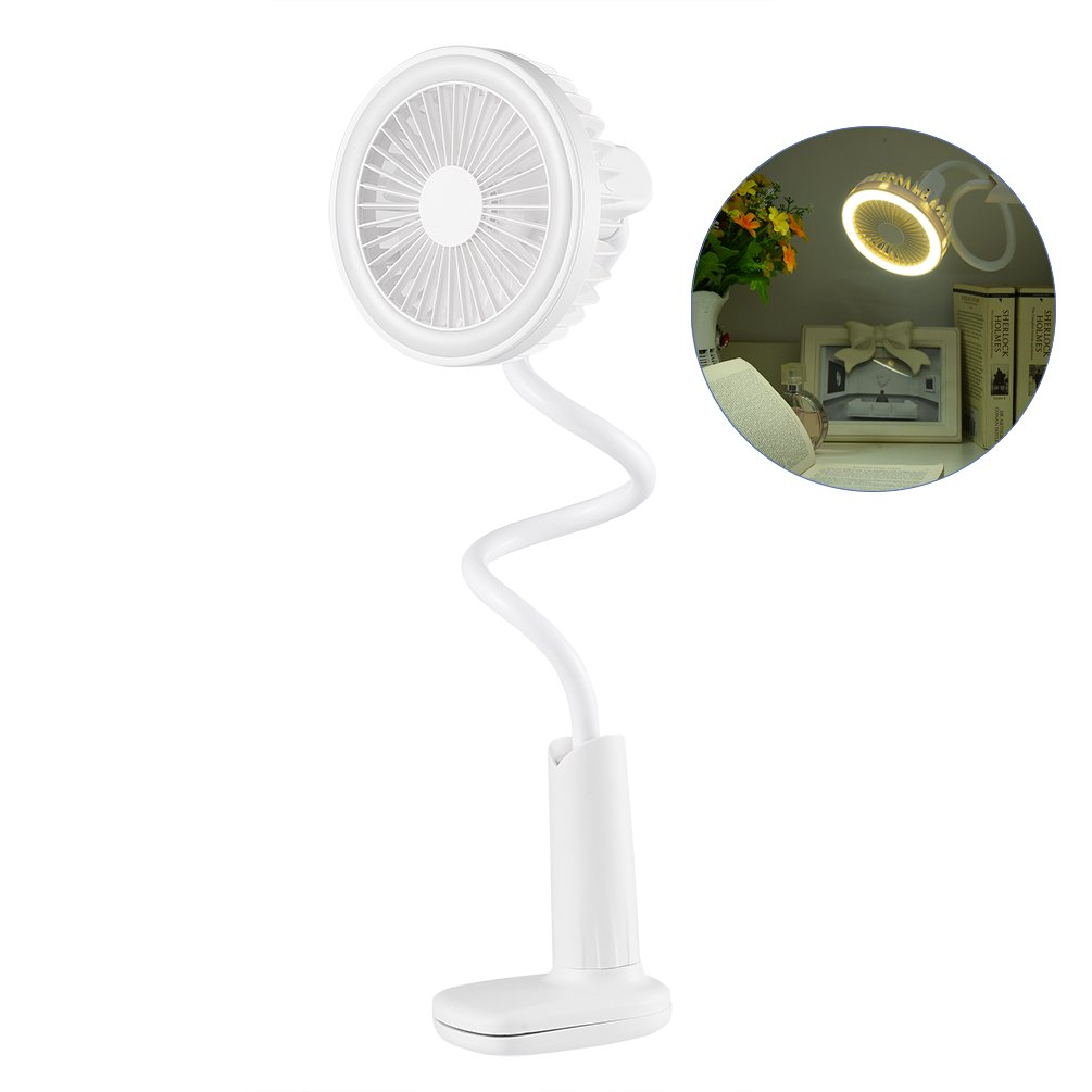 LEDGLE Clip-on Desk Lamp Practical USB Mini Fan Flexible Table Lamp with 2 Lighting Modes, 200lm, 5500K, White