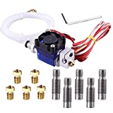 EAONE All-Metal V6 J-Head Hotend Full Kit with 5 Pcs Extruder Brass Print Head + 5 Pcs Stainless Steel Nozzle Throat for E3D V6 Makerbot RepRap 3D Printers