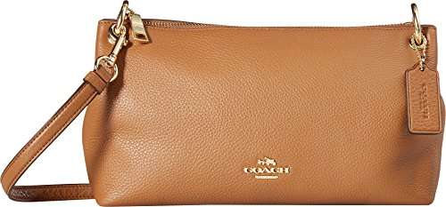 COACH Women's Pebbled Leather Charley Crossbody Im/Saddle One Size