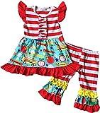 Girls Back to School Red Stripes Cayon Book Apple Capri Set 3T/S