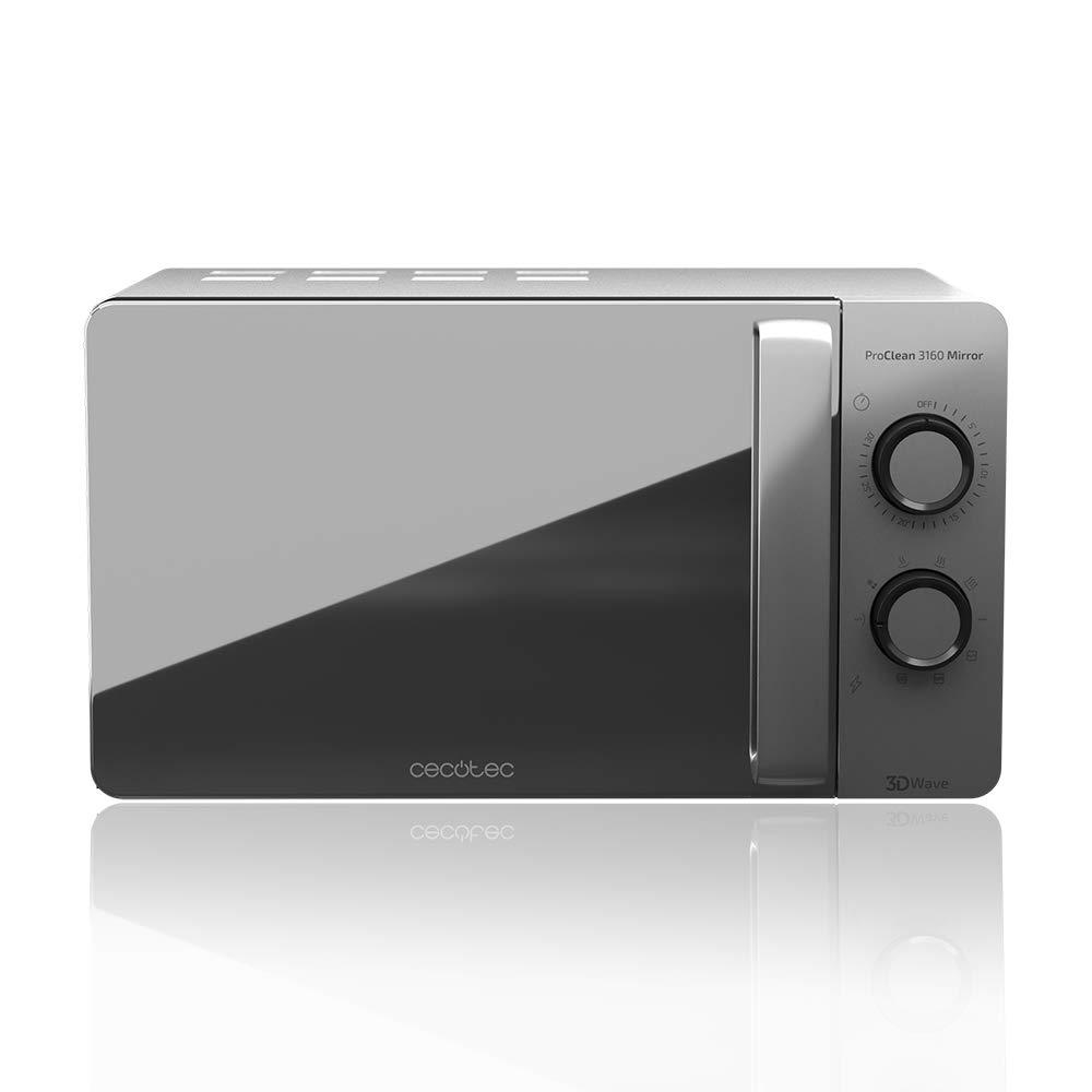 Cecotec Microondas con Grill ProClean 3160 Mirror . Capacidad de 20l, Revestimiento Ready2Clean, 700 W de Potencia, Grill 800W, 6 Niveles, ...