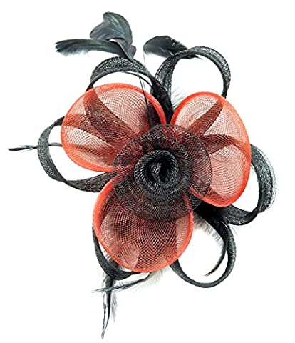 Fascinator Hair Clip Women Flower Feather Headband Pillbox Hat Tea Party (A Black Red) (Music Videos For Party)