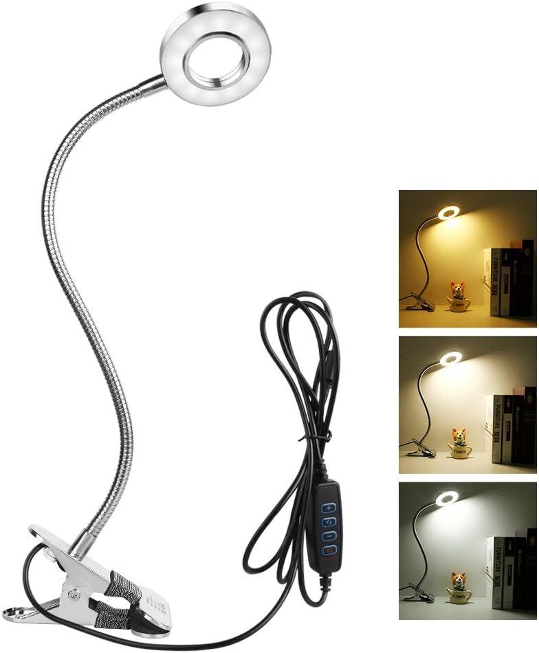 Semlos Reading Light, Desk Lamp, Clip on Light for Bedside Headboard Tables, 3 Lighting Modes 10 Brightness Levels, Adjustable Gooseneck, Memory