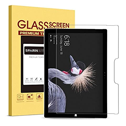 New Surface Pro / Surface Pro 4 Screen Protector, SPARIN Tempered Glass Screen Protector - Maintaining Touchscreen's Responsiveness / Easy Installation / 2.5D Round Edge / Scratch Resistant