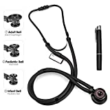 Sprague Rappaport Stethoscope Dual Head with Adult, Pediatric, Infant Diaphragm, Childs Medical Stethoscope for Clinical, Doctor, Nurse, Black