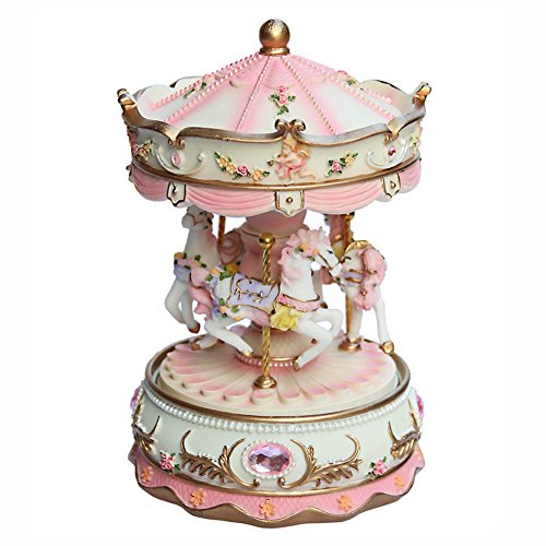 AVESON Luxury Carousel Music Box, Clockwork Mechanism 3-horse Gift For Christmas/Birthday/Valentine's day, Melody Castle in the Sky(Laputa), Pink