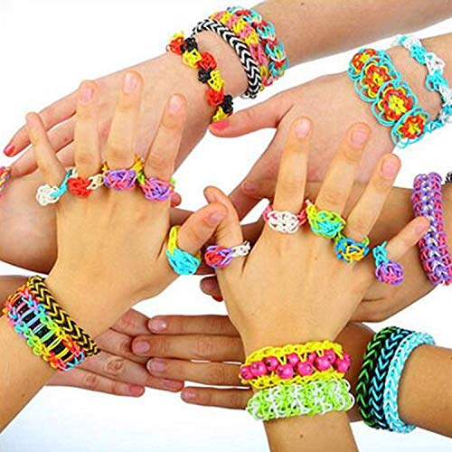 Rainbow Color Loom RubberBands Kit Colorful Bands Refill Bracelet Making Set Including6800 Pcs Rubber Loom Bands 200 Pcs Slips 100 Beads 15 Charms 8 Tools More for DIYWeaving Crafting by Bomach (Image #5)
