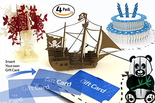 3D Pop Up Cards and Gift Card Holder (set of 4) Birthday, Christmas, Graduation