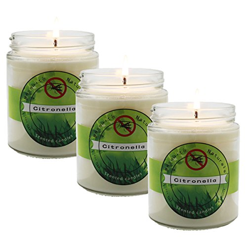 iwax Mosquito Repellent Outdoor Citronella Candles,8.5oz Jar Candle, set of 3