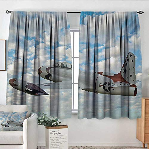 HOMEDECORATIONS Airplane Thermal Insulating Blackout Curtain Vintage Plane in Mid-Air American Military Sky Aircraft Fighter Jet Transportation Patterned Drape for Glass Door 55