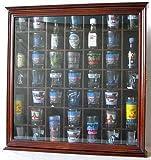 Collectible Display Case Wall Curio Cabinet Shadow Box, Solid wood, glass door (Walnut Finish)
