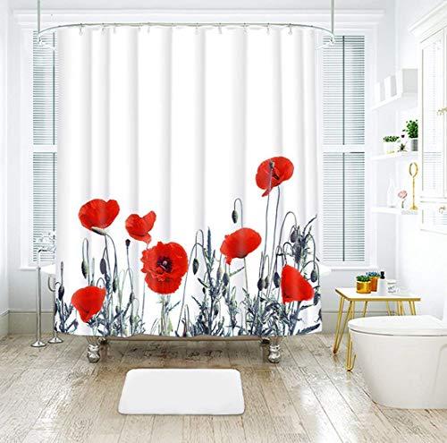 LIVILAN Vintage Orange Poppy Floral Fabric Shower Curtain Set with 12 Hooks 70