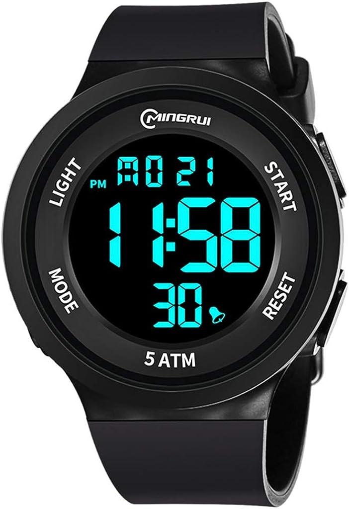 MEISHI Deportes for Hombre Digitales Reloj- al Aire Libre Reloj Impermeable del Deporte con Alarma/Temporizador, Ejército Militar Relojes de Pulsera Moda Fresca Grande Duradero analógico - Negro