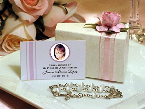 Communion Confirmation PINK Embossed 42 Rosary Favor Cake Boxes and Centerpiece by LMK Gifts