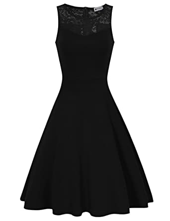 7a48d5c19f Women Sleeveless Casual A-line Little Black Dress Swing Dresses Black S