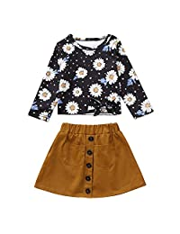 Euone GirlsFloral Tops + Skirt for 0-5 Years Old Kids Casual Long Sleeve Outfits