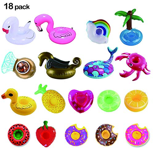 LKDEPO Inflatable Drink Holder 18 Pack, Floats Inflatable Cup Coasters for Summer Pool Party and Kids Fun Bath Toys [Newest Type Golden Pegasus & Mermaid]   ()