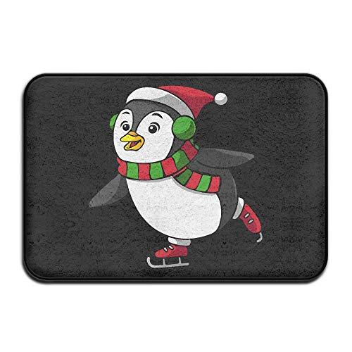 Indoor/Outdoor Cartoon Christmas Penguin Skating Non-Skid Door Mat Rug Kitchen Hallway 23.6