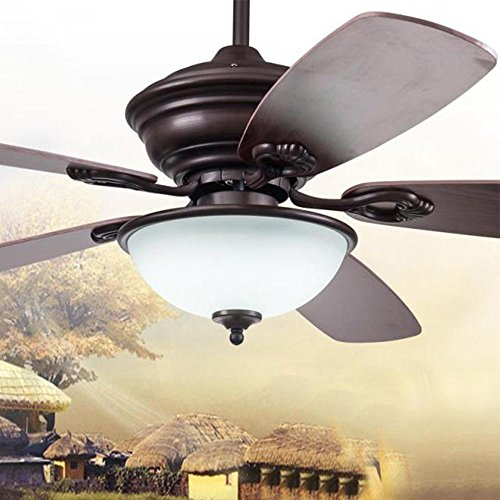 Andersonlight 5-Blade Single Light Ceiling Fan with Brazilian Cherry/Stained Oak Blades and Piped Toffee Glass Light Bowl, 52-Inch, Black Finish (Round Light Ceiling Bowl)