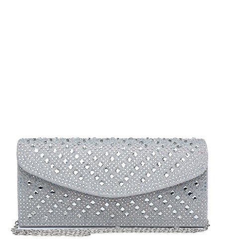 Party Diamante Glitter Clutch Me68038 Evening Ladies Purse Handbag Silver Bag Envelope Women's CR0AnwOq