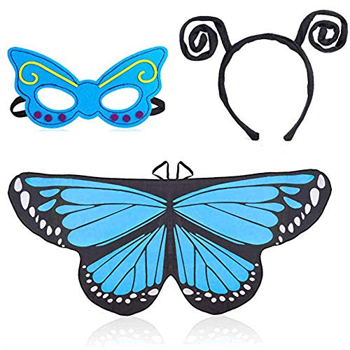 Beelittle Butterfly Wings Costume 3 Pieces Fancy Dress-Up Set Butterfly Wings Cape Shawl with Antenna Headband and Mask for Girls Kids - Butterfly Antenna Blue