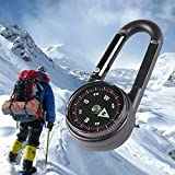1 Set Mini 3-in-1 Metal Carabiner Compass Keychain Thermometer Snap Hook Survival Emergency Life Military Top level Popular Outdoor Hunting Waterproof Whistle Backpack Geometry Map Guide Tools Kits