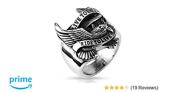 Detailed American American Motorcycle Engine Ring With Wings Stainless Steel