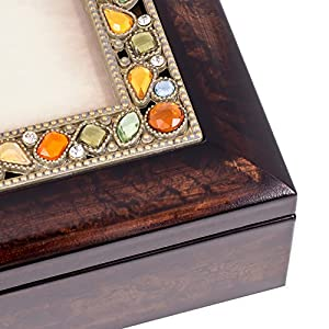 My Wish for You Inspirational Italian Style Burlwood Finish Decorative Jewel Lid Musical Music Jewelry Box - Plays Edelweiss