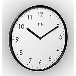 TiiM Slim Modern Design Wall Clock, Black
